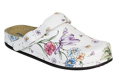 """AWC Damen Berufsschuhe """"Tiefbett"""" Deko Line White Flower mit Absatz Gr. 39"""