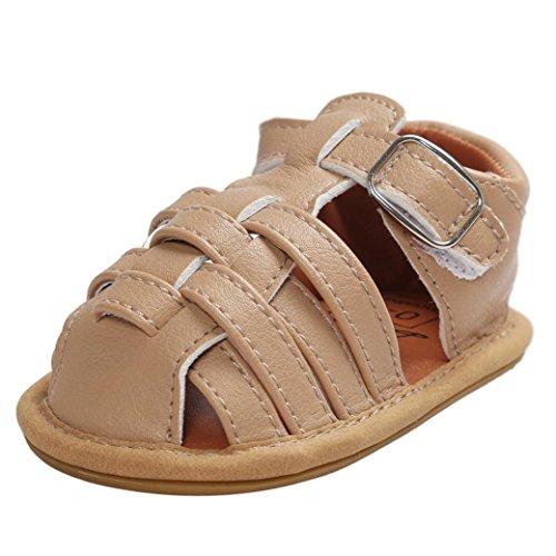 51odqnD4A+L - OverDose Baby Sandalen Kleinkind erste Wanderer Mädchen Jungen Kinder Schuhe  (11, Khaki)
